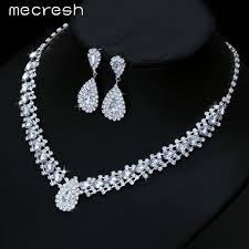 crystal choker necklace set images Mecresh 4 colors crystal bridal jewelry sets choker necklace jpeg