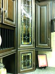 Kitchen Cabinets Glass Inserts White Painted Hutch Cabinetry With Curved Mullions And Clear Glass