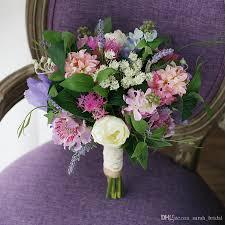 fresh pastoral mori wedding bridal bouquets 2017 purple hyacinth