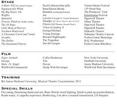Special Skills Theatre Resume Resume U2014 Brandon Duncan