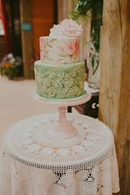 An Elegant Modern Vintage Spring Wedding Painted Wedding Cake