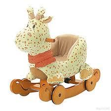 siege a bascule bebe labebe cheval à bascule enfant jaune girafe jeu à bascule bois avec