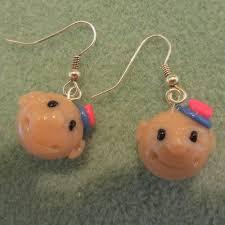 baby girl earrings clay baby girl earrings with pink flower hat polymer clay ooak