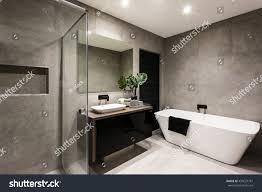 modern bathroom shower area bath tub stock photo 450627787