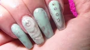 acrylic nails encapsulated 3d rose mint green youtube