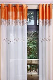 Orange And White Curtains Free Shipping Eyelet Embroidery Voile Window Curtains For Living