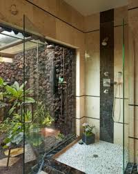 Outdoor Glass Room - 30 outdoor shower design ideas showing beautiful tiled and stone walls