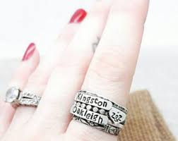stackable mothers rings with names stackable mothers rings 2 names 1 initial heart pattern band spacer