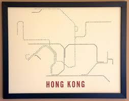 Hong Kong Mtr Map Hong Kong Typographic Transit Map Poster