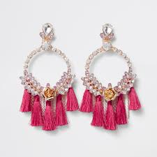 pink earrings pink hoop tassel drop earrings earrings jewelry women