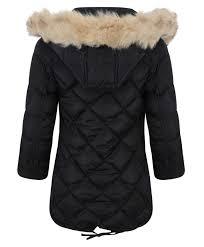 girls long down quilted winter jacket kids detach hood zip parka