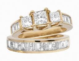 wedding ring sets for 10k yellow gold princess cut bridal wedding