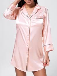 satin pajama shirt dress pink xl in pajamas dresslily