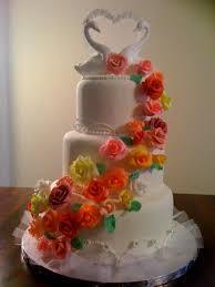wedding cake gum paste pastillage heart swans colorfull
