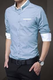 light blue cotton squared off collar classic mens shirt squares