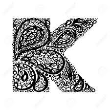 letter k decorative alphabet with a paisley doodle