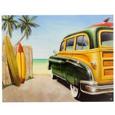 jeep with surfboard beach surfboards woody station wagon tin sign beach house decor