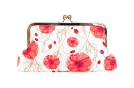 red poppy flowers purse clutch shabby chic meadow wild flowers