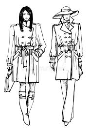 two stylish lovely girls fashion sketch vector stock vector