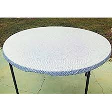vinyl elasticized table cover amazon com fitted round elastic edge sculptured vinyl table cover