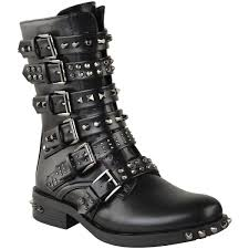 boots biker womens ladies studded ankle boots buckle western biker strappy