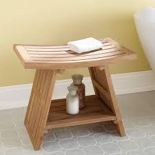 bathroom appealing wooden teak shower bench plus shelf for