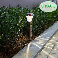 Stainless Steel Outdoor Lighting Voona Solar Led Outdoor Lights 8 Pack Stainless Steel