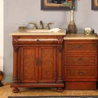 53 inch single sink bathroom vanity with storage and marble