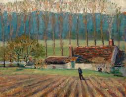 before his return to iowa wood created an impressionist influenced scene of rural france in truck garden moret painted in 1924 art figge art museum