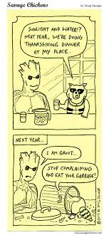 water thanksgiving dinner garbage guardians of the galaxy groot