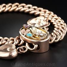 rose gold bracelet with charms images Antique russian rose gold slide bracelet with charms jpg