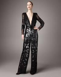 sleeve sequin jumpsuit lyst stella mccartney plunging v sequined jumpsuit in black
