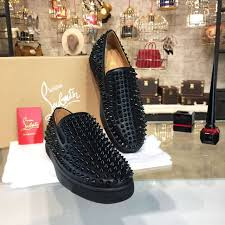 christian louboutin roller boat slide on spikes low top leather