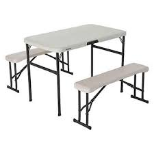 lifetime portable folding picnic camp table chair bench set