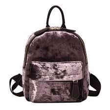 Women soft velvet backpack teenager girls small travel backpacks