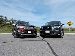 compare honda pilot and ford explorer 2016 ford explorer vs 2016 honda pilot autoguide com