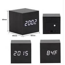 horloge de bureau moderne imitation cube bois horloge de bureau alarme led horloge