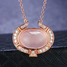 silver drop pendant necklace images Buy pink natural rose quartz gems stones pendant jpg