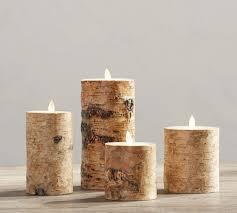 premium flicker flameless birch wax pillar candle pottery barn