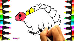 how to draw dinosaur coloring pages for kids drawing and