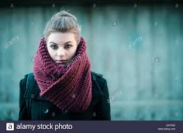 looking with grey hair young hipster grey hair girl with big burgundy scarf looking at