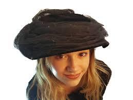 funeral hat black platter hat 1940s black velvet hat with tulle tilt