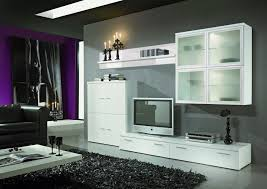 interior design white modern wall units with dark fur rug and