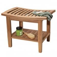 teak corner bath stool