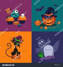 set halloween vector illustrations cat tomb stock vector 323977577