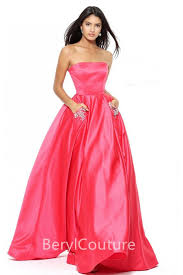 Formal Dresses With Pockets Shining A Line Strapless Long Pink Satin Prom Dress With Pockets