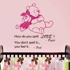 aliexpress com buy wall decal quote how do you spell love you aliexpress com buy wall decal quote how do you spell love you feel it winnie the pooh piglet vinyl wall sticker nursery children room murals m 71 from