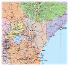 Kenya Map Africa by Large Detailed Kenya Political And Relief Map With Roads Kenya