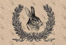 vintage collage illustration rabbit hare laurel wreath instant