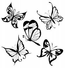 black and white color tribal butterflies designs for